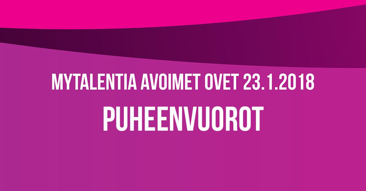myTalentian Avoimet Ovet -tapahtuman puheenvuorot 23.1.2018